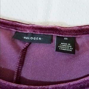 Halogen Tops - Halogen Velvet 2-layer Sleeves Blouse